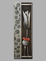 Недорогие -Ручная роспись Абстракция Вертикальная, Modern холст Hang-роспись маслом Украшение дома 1 панель