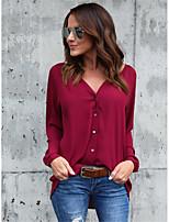 Недорогие -Жен. Повседневные На выход Весна Осень Блуза,V-образный вырез Простой Секси Однотонный Полиэстер