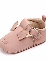 cheap -Girls' Shoes Leatherette Spring Fall Crib Shoes First Walkers Comfort Flats Bowknot Magic Tape for Casual Outdoor Dark Grey Pink