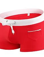 abordables -Homme Couleur unie Mode Bas Maillots de Bain simple,Polyester Noir Rouge Marine Bleu Ciel
