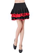 abordables -Danse latine Bas Femme Entraînement Polyester Combinaison Ondulé Taille basse Jupes