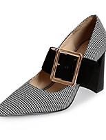 preiswerte -Damen Schuhe Leder Frühling Herbst Komfort High Heels Blockabsatz für Normal Schwarz Hellbraun