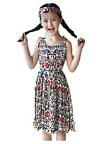 cheap -Girl's Holiday Going out Polka Dot Floral Jacquard Dress,Rayon Summer Cute Active Khaki Red Black Blue