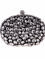 cheap -Bags Polyester Evening Bag Crystal Detailing for Wedding Event/Party All Seasons Black