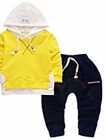 preiswerte -Jungen Kleidungs Set Alltag Sport Solide Baumwolle Frühling Herbst Langarm Blau Schwarz Gelb