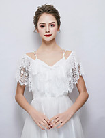 cheap -Sleeveless Polyester/Cotton Blend Wedding Party / Evening Women's Wrap With Lace Capelets