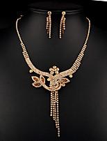 cheap -Women's Cubic Zirconia Rhinestone Pearl Imitation Diamond Jewelry Set 1 Necklace Earrings - Classic Vintage Elegant Geometric Flower Gold