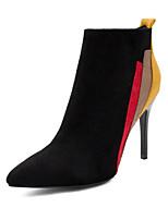 baratos -Mulheres Sapatos Pele Nobuck Inverno Outono Conforto Botas da Moda Botas Salto Agulha Botas Curtas / Ankle para Casual Preto