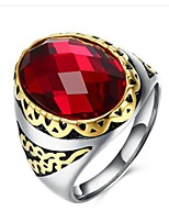 cheap -Men's Band Ring Synthetic Ruby Classic Stainless Steel Circle Costume Jewelry Gift Daily