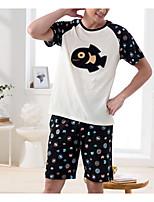 abordables -Normal Costumes Pyjamas Homme, Couleur Pleine Fin Coton Noir