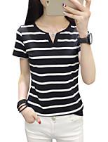 economico -T-shirt Per donna A strisce Cotone Poliestere