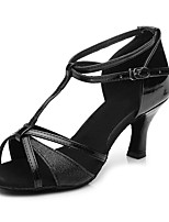 "cheap -Women's Latin Sparkling Glitter Leatherette Sandal Heel Training Buckle Paillette Chunky Heel Black 2"" - 2 3/4"" Customizable"