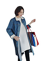 cheap -Women's Casual/Daily Simple Fall Denim Jacket,Solid V Neck Long Sleeves Regular Cotton