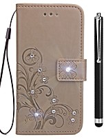 cheap -Case For OPPO Oppo R11s Oppo R11 Card Holder Wallet Rhinestone with Stand Flip Embossed Full Body Cases Flower Hard PU Leather for OPPO