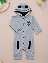 cheap -Baby Unisex Daily Sports Print Animal Print One-Pieces, Cotton Spring Fall Cute Casual Gray