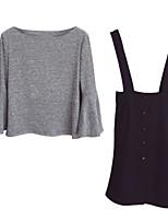 Недорогие -Жен. Большие размеры Polo Платья - Крупногабаритные, Сплошной цвет