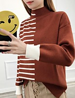cheap -Women's Polyester T-shirt - Solid Striped Turtleneck