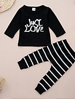 cheap -Baby Unisex Daily Sports Striped Print Clothing Set, Cotton Spring Fall Simple Cute Long Sleeves Black