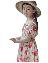 cheap -Girl's Holiday Going out Floral Print Dress,Cotton Polyester Summer Sleeveless Cute Active White Blue