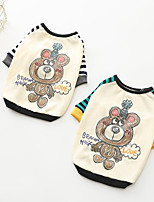 cheap -Dogs Sweatshirt Dog Clothes Casual/Daily Striped Bear Yellow Green Costume For Pets