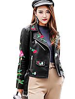 Недорогие -Для женщин Повседневные Зима Осень Кожаные куртки Рубашечный воротник,На каждый день С принтом Короткая Длинные рукава,Полиуретановая