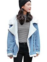 baratos -Mulheres Jaqueta jeans Diário Vintage Inverno,Sólido Padrão Algodão Acrílico Decote Redondo Manga Curta Pregueado
