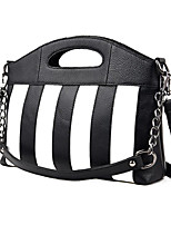 cheap -Women's Bags Cowhide Shoulder Bag Buttons for Casual Spring Fall Black/White