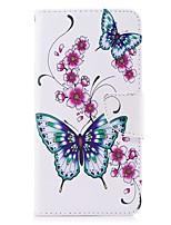 Недорогие -Кейс для Назначение Huawei Y5 III(Y5 2017) Y5 II / Honor 5 Бумажник для карт Кошелек со стендом Флип Магнитный Чехол Бабочка Цветы Твердый