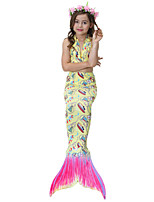 cheap -Girls' Cute Active Print Swimwear, Cotton Polyester Sleeveless Yellow