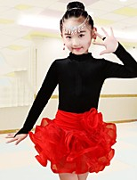 cheap -Latin Dance Outfits Girls' Performance Spandex Ruching Long Sleeves Natural Skirts Top