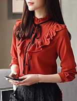 cheap -Women's Work Polyester Blouse - Solid, Bow Crew Neck