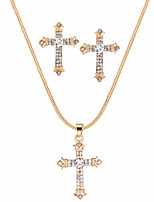 cheap -Women's Jewelry Set Rhinestone Alloy Cross Gift Evening Party Valentine 1 Necklace Earrings Costume Jewelry