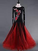 cheap -Ballroom Dance Dresses Women's Performance Organza Velvet Chiffon Embroidery Cascading Ruffles Crystals/Rhinestones Long Sleeves Dress