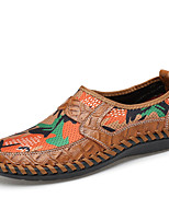 cheap -Men's Shoes Leatherette Leather Spring Summer Comfort Loafers & Slip-Ons Animal Print for Casual Brown Green Blue