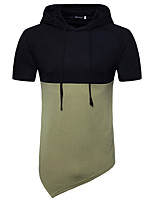 cheap -Men's Sports Casual Chinoiserie Short Sleeves Hoodie - Color Block Hooded
