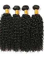 cheap -Brazilian Hair Curly Human Hair Weaves 4-Pack Natural Color Hair Weaves