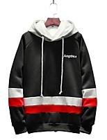 cheap -Men's Plus Size Hoodie - Striped Letter Hooded