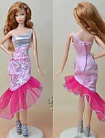 Недорогие -Платья Платья Для Кукла Барби Бледно-розовый текстильный Эластичный сатин Платье Для Девичий игрушки куклы