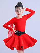 cheap -Latin Dance Dresses Girls' Training Polyester Ruching Long Sleeves High Dress