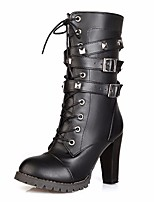 cheap -Women's Shoes PU Winter Fall Comfort Fashion Boots Boots Chunky Heel Mid-Calf Boots for Casual Black Brown