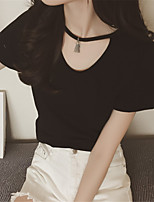 cheap -Women's Daily Going out Simple Summer T-shirt,Solid Round Neck Short Sleeve Cotton Polyester
