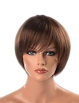 "cheap -Synthetic Hair Wigs Yaki Straight Natural Hairline Layered Haircut Celebrity Wig Natural Wigs Short 28.7""(Approx.73cm) 8.5"" Black/Brown"