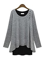 cheap -Women's Daily Simple Spring T-shirt,Solid Round Neck Long Sleeve Cotton