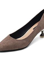 preiswerte -Damen Schuhe Nubukleder Frühling Herbst Komfort High Heels Stöckelabsatz für Normal Schwarz Grau Rosa