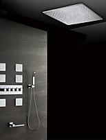 Недорогие -Современный На стену Дождевая лейка Ручная лейка входит в комплект Термостатический Керамический клапан Пять Рукоятки девять лунок Хром,