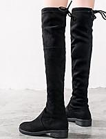 preiswerte -Damen Schuhe Nubukleder Winter Herbst Modische Stiefel Komfort Stiefel Blockabsatz Übers Knie für Normal Schwarz