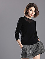 abordables -Tee-shirt Femme, Couleur Pleine Col en V Polyester