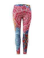 abordables -Mujer Básico Deportivo Legging - Bloques, Estampado Media cintura
