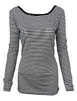 cheap -Women's Active Cotton Slim T-shirt - Striped, Backless