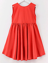 cheap -Girl's Solid Dress Summer Sleeveless Simple Red Yellow